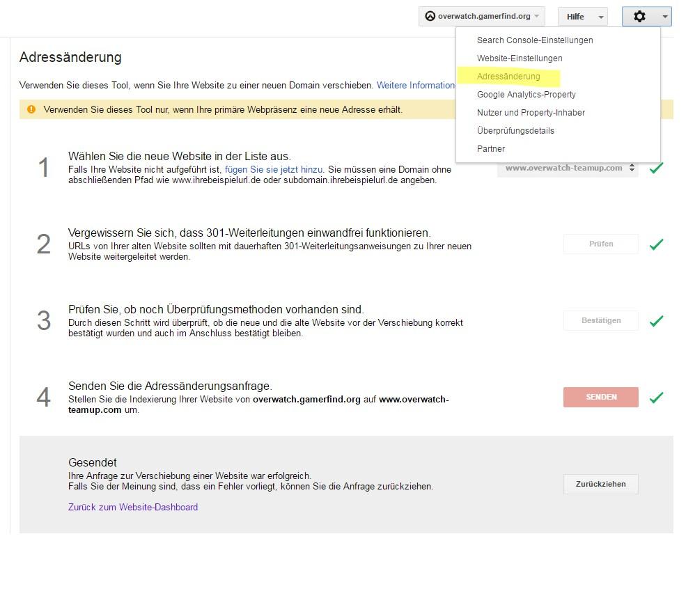 Domainweiterleitung Webmastertools (GSC)